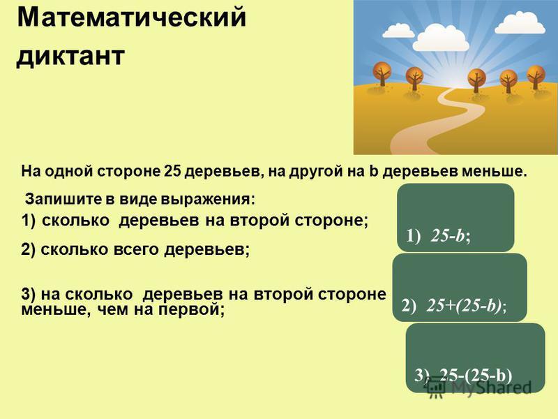 На одной стороне 25 деревьев, на другой на b деревьев меньше. Запишите в виде выражения: Математический диктант 1)сколько деревьев на второй стороне; 2) сколько всего деревьев; 3) на сколько деревьев на второй стороне меньше, чем на первой; 1) 25-b;