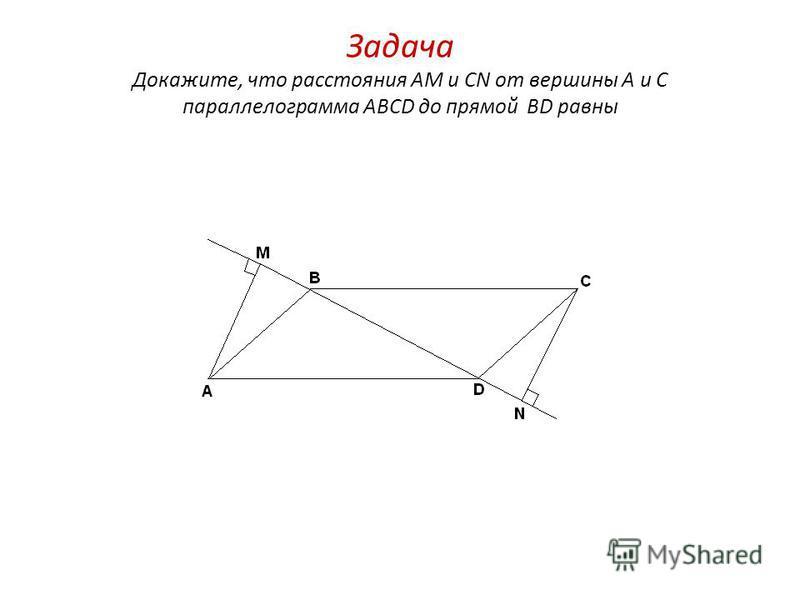 Задача Докажите, что расстояния AM и CN от вершины A и C параллелограмма ABCD до прямой BD равны