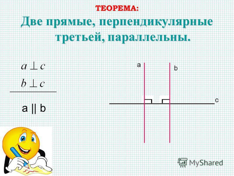 ТЕОРЕМА: Две прямые, перпендикулярные третьей, параллельны. a || b с а b