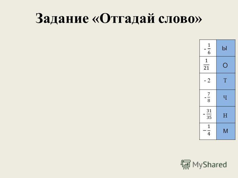 Задание «Отгадай слово» - 2 О Ч Т Н М Ы