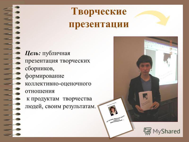 Творческие презентации Цель: публичная презентация творческих сборников, формирование коллективно-оценочного отношения к продуктам творчества людей, своим результатам.