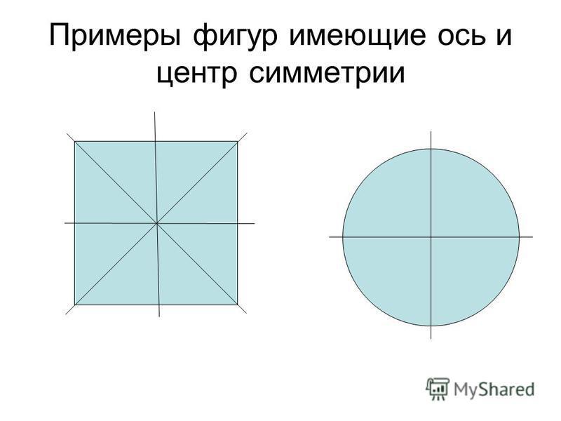Примеры фигур имеющие ось и центр симметрии