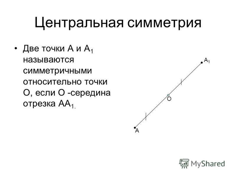 Центральная симметрия Две точки А и А 1 называются симметричными относительно точки О, если О -середина отрезка АА 1. А О А1А1