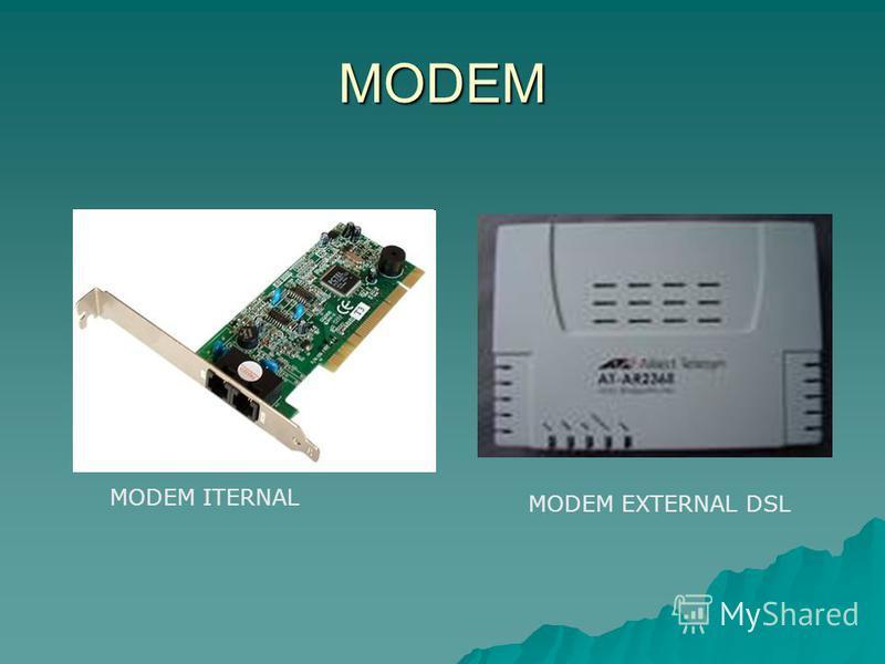 MODEM MODEM ITERNAL MODEM EXTERNAL DSL