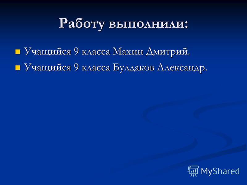 Работу выполнили: Учащийся 9 класса Махин Дмитрий. Учащийся 9 класса Булдаков Александр.