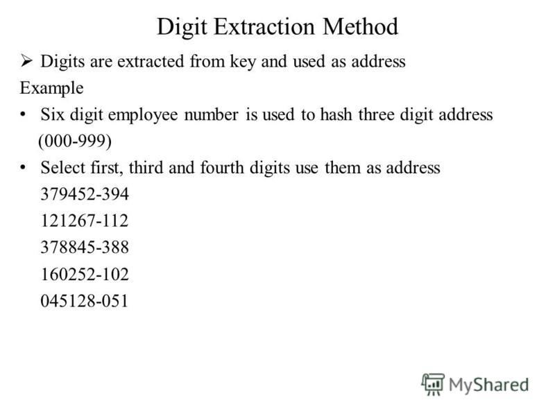Digit Extraction Method Digits are extracted from key and used as address Example Six digit employee number is used to hash three digit address (000-999) Select first, third and fourth digits use them as address 379452-394 121267-112 378845-388 16025