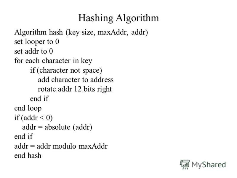Hashing Algorithm Algorithm hash (key size, maxAddr, addr) set looper to 0 set addr to 0 for each character in key if (character not space) add character to address rotate addr 12 bits right end if end loop if (addr < 0) addr = absolute (addr) end if