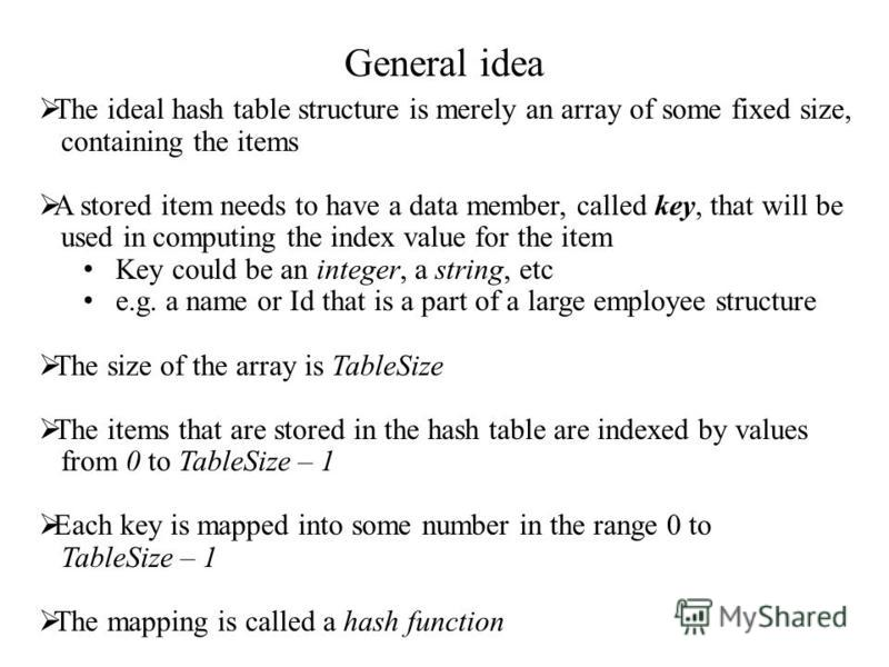 General idea The ideal hash table structure is merely an array of some fixed size, containing the items A stored item needs to have a data member, called key, that will be used in computing the index value for the item Key could be an integer, a stri