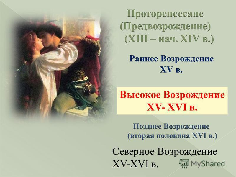 Раннее Возрождение XV в. Высокое Возрождение XV- XVI в. Северное Возрождение XV-XVI в.