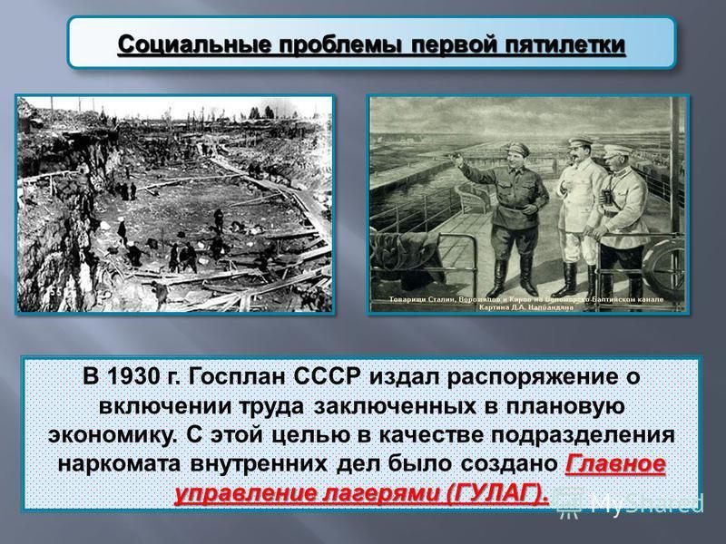 Социальные проблемы первой пятилетки Главное управление лагерями ( ГУЛАГ ). В 1930 г. Госплан СССР издал распоряжение о включении труда заключенных в плановую экономику. С этой целью в качестве подразделения наркомата внутренних дел было создано Глав