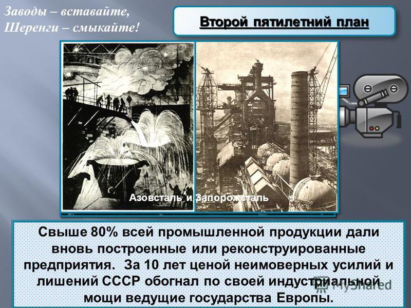 Второй пятилетний план Свыше 80% всей промышленной продукции дали вновь построенные или реконструированные предприятия. За 10 лет ценой неимоверных усилий и лишений СССР обогнал по своей индустриальной мощи ведущие государства Европы. Заводы – встава