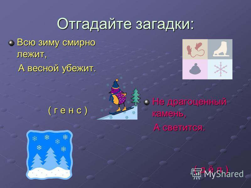 Отгадайте загадки: Всю зиму смирно лежит, А весной убежит. А весной убежит. ( г е н с ) ( г е н с ) Не драгоценный камень, А светится. А светится. ( д ё л ) ( д ё л )