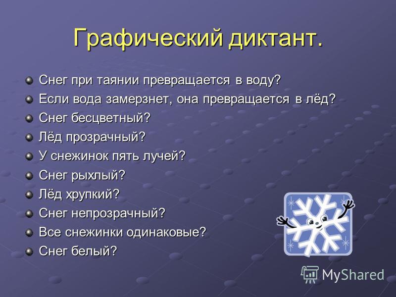 Графический диктант. Снег при таянии превращается в воду? Если вода замерзнет, она превращается в лёд? Снег бесцветный? Лёд прозрачный? У снежинок пять лучей? Снег рыхлый? Лёд хрупкий? Снег непрозрачный? Все снежинки одинаковые? Снег белый?