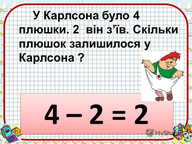 У Карлсона було 4 плюшки. 2 він зїв. Скільки плюшок залишилося у Карлсона ? 4 – 2 = 2