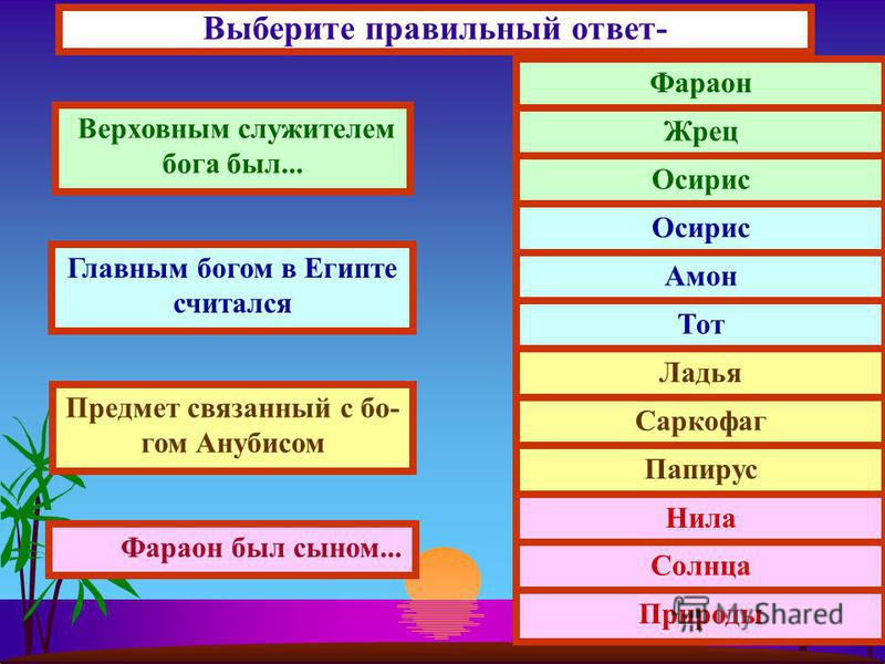 Выберите правильный ответ- Верховным служителем бога был... Главным богом в Египте считался Предмет связанный с богом Анубисом Фараон был сыном... Фараон Жрец Осирис Амон Тот Ладья Саркофаг Папирус Нила Солнца Природы