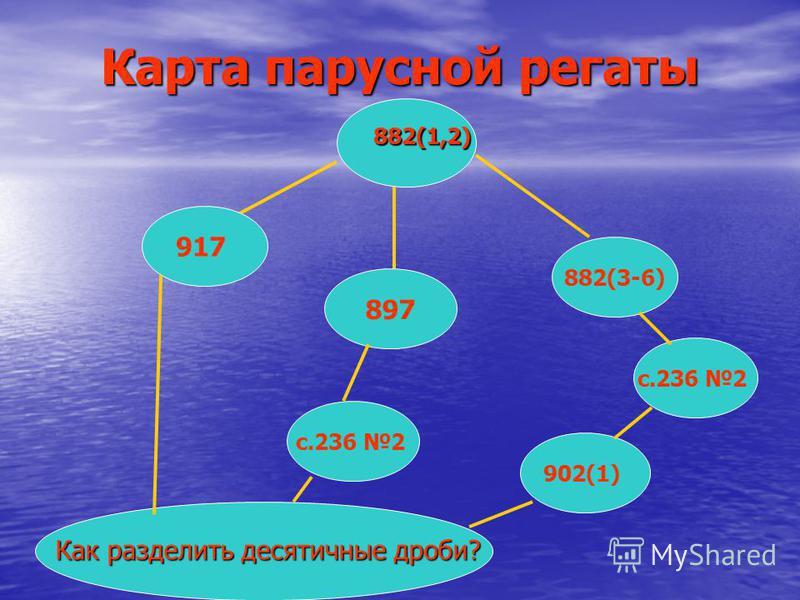 Карта парусной регаты 882(1,2) 882(1,2) Как разделить десятичные дроби? 917 897 882(3-6) с.236 2 902(1)