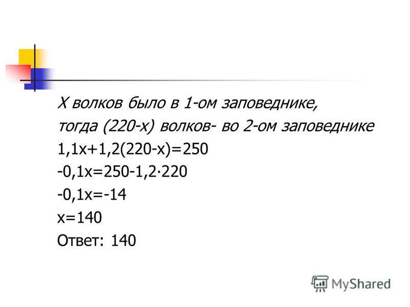 Х волков было в 1-ом заповеднике, тогда (220-х) волков- во 2-ом заповеднике 1,1x+1,2(220-x)=250 -0,1 х=250-1,2220 -0,1 х=-14 х=140 Ответ: 140