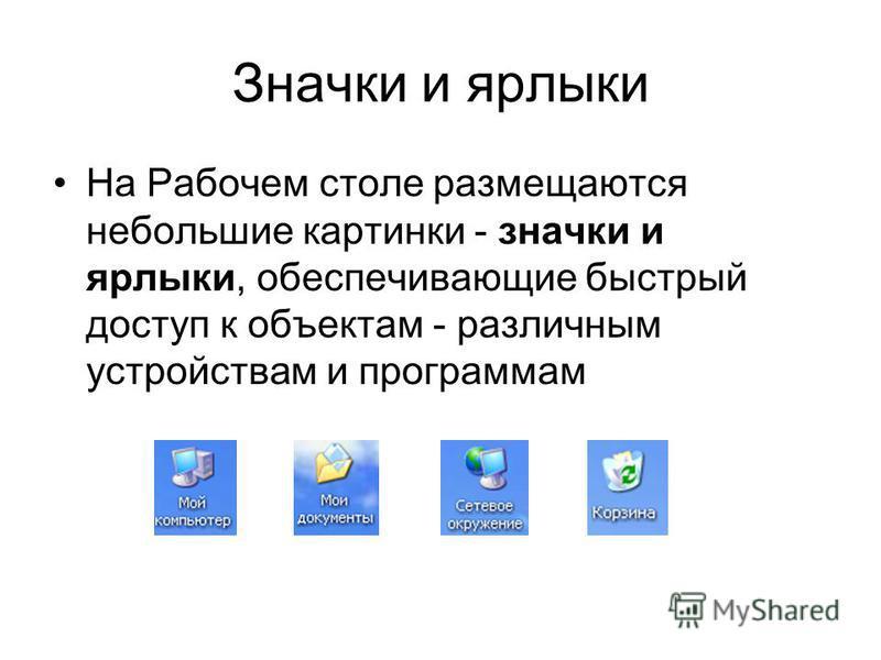Значки и ярлыки На Рабочем столе размещаются небольшие картинки - значки и ярлыки, обеспечивающие быстрый доступ к объектам - различным устройствам и программам