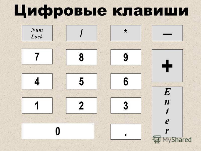 Цифровые клавиши Num Lock /* 7 4 1 0 8 5 2 9 6 3 EnterEnter. +