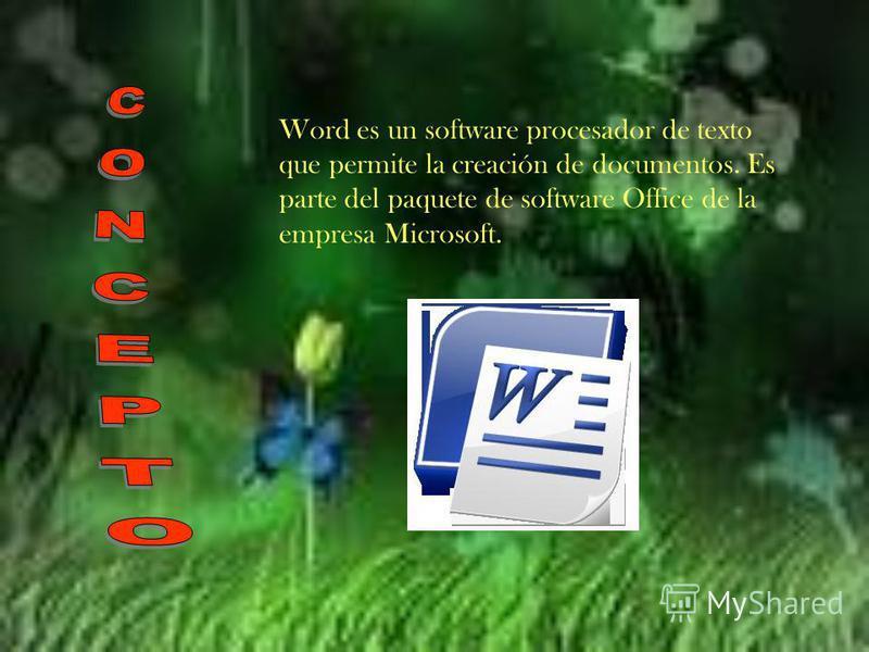 Word es un software procesador de texto que permite la creación de documentos. Es parte del paquete de software Office de la empresa Microsoft.