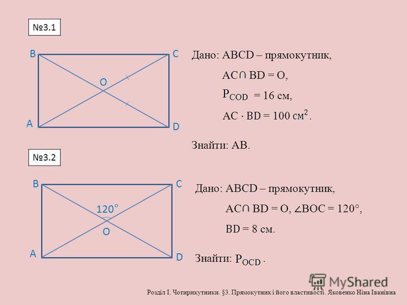 А BC D O Дано: АВСD – прямокутник, AC BD = O, = 16 см, АС ВD = 100. Знайти: АВ. А BC D O 120° Дано: АВСD – прямокутник, AC BD = O, ВОС = 120°, ВD = 8 см. Знайти:. 3.1 3.2 Розділ І. Чотирикутники. §3. Прямокутник і його властивості. Яковенко Ніна Іван