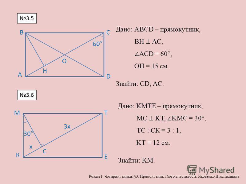 А BC D O 60° Н Дано: АВСD – прямокутник, ВН АС, АСD = 60°, ОН = 15 см. Знайти: СD, АС. К МТ Е С х 3х 30° Дано: KМТЕ – прямокутник, МС KТ, KМС = 30°, ТС : СК = 3 : 1, KТ = 12 см. Знайти: KМ. 3.5 3.6 Розділ І. Чотирикутники. §3. Прямокутник і його влас