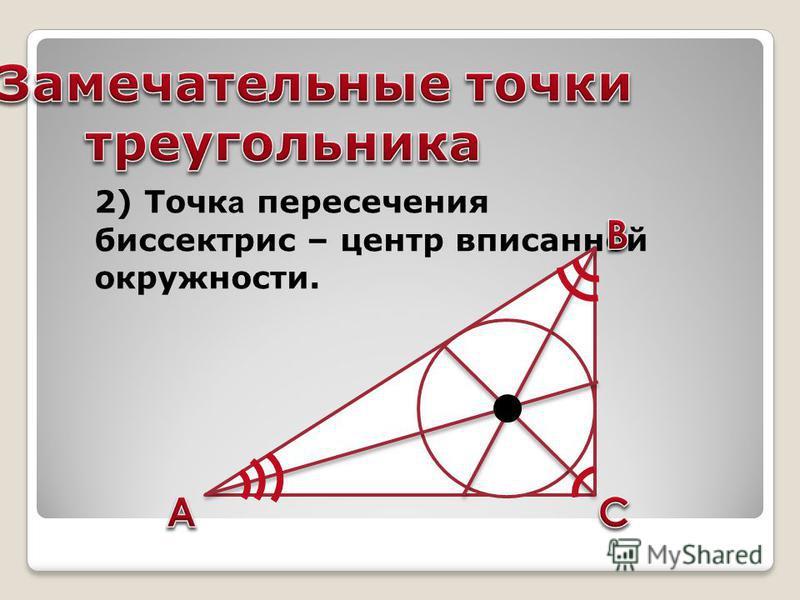 2) Точк а пересечения биссектрис – центр вписанной окружности.