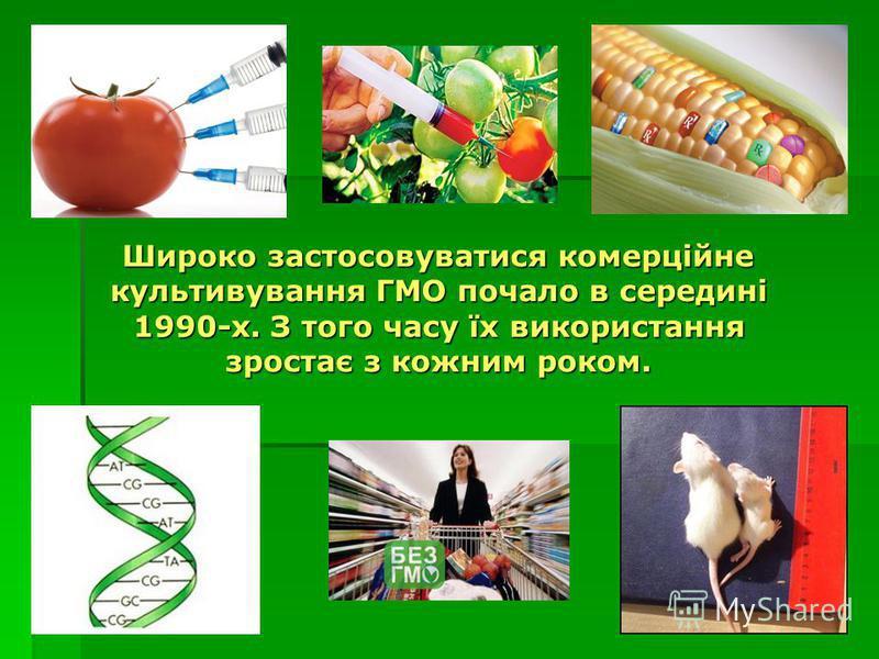 Широко застосовуватися комерційне культивування ГМО почало в середині 1990-х. З того часу їх використання зростає з кожним роком. Широко застосовуватися комерційне культивування ГМО почало в середині 1990-х. З того часу їх використання зростає з кожн