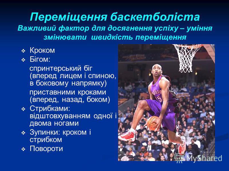 П Переміщення баскетболіста Важливий фактор для досягнення успіху – уміння змінювати швидкість переміщення Кроком Бігом: спринтерський біг (вперед лицем і спиною, в боковому напрямку) приставними кроками (вперед, назад, боком) Стрибками: відштовхуван