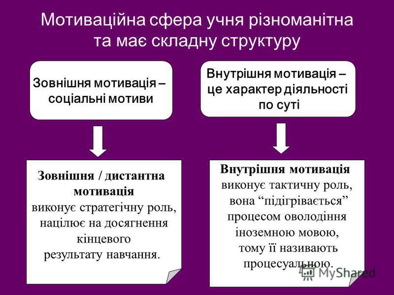Мотиваційна сфера учня різноманітна та має складну структуру Зовнішня мотивація – соціальні мотиви Внутрішня мотивація – це характер діяльності по суті Зовнішня / дистантна мотивація виконує стратегічну роль, націлює на досягнення кінцевого результат