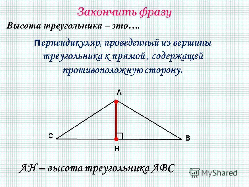 перпендикуляр, проведенный из вершины треугольника к прямой, содержащей противоположную сторону. А В С H АН – высота треугольника АВС Закончить фразу Высота треугольника – это….