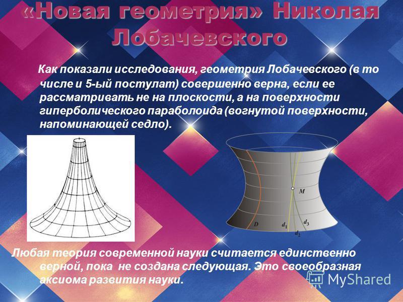 Как показали исследования, геометрия Лобачевского (в то числе и 5-ый постулат) совершенно верна, если ее рассматривать не на плоскости, а на поверхности гиперболического параболоида (вогнутой поверхности, напоминающей седло). Любая теория современной