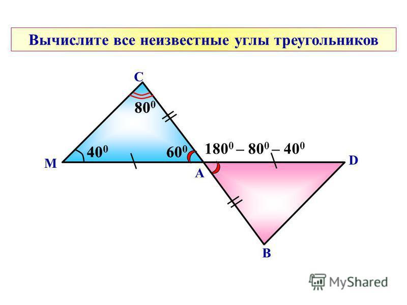 А С Вычислите все неизвестные углы треугольников М В D 180 0 – 80 0 – 40 0 40 0 80 0 60 0