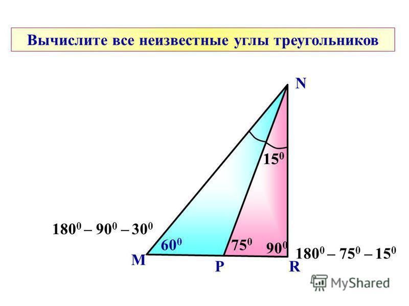 M N Вычислите все неизвестные углы треугольников 75 0 P 15 0 R 90 0 15 0 60 0 180 0 – 75 0 – 15 0 180 0 – 90 0 – 30 0