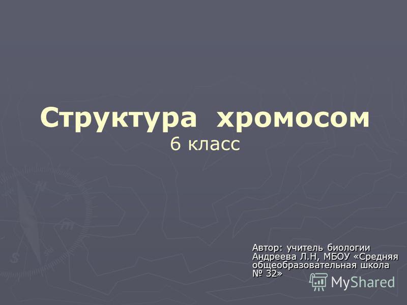 Структура хромосом 6 класс Автор: учитель биологии Андреева Л.Н, МБОУ «Средняя общеобразовательная школа 32»