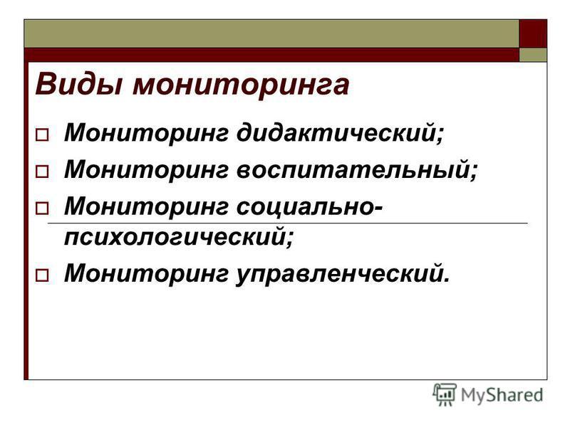 Виды мониторинга Мониторинг дидактический; Мониторинг воспитательный; Мониторинг социально- психологический; Мониторинг управленческий.