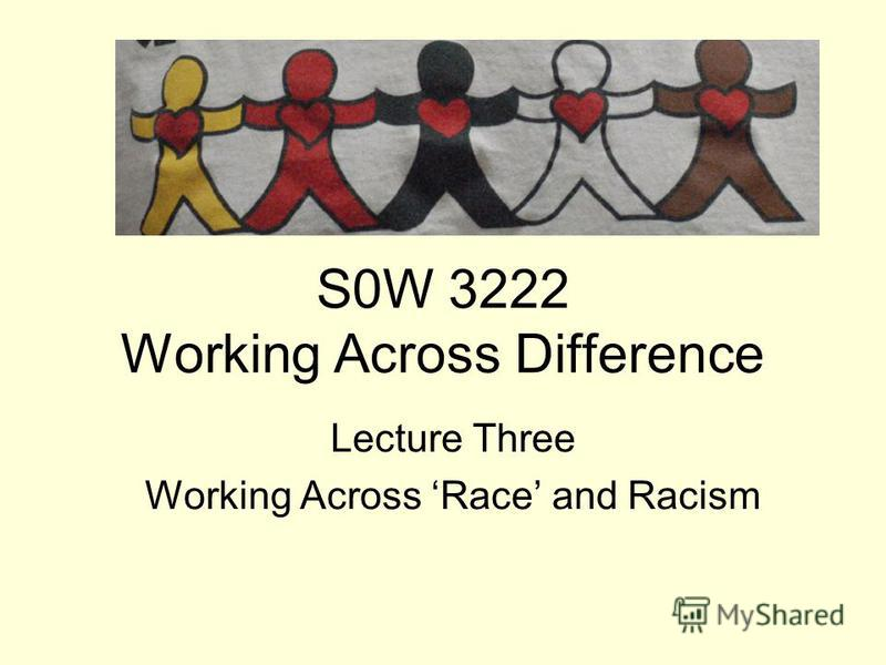S0W 3222 Working Across Difference Lecture Three Working Across Race and Racism