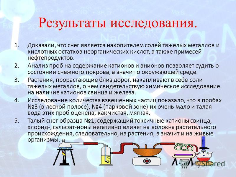 Результаты исследования. 1.Доказали, что снег является накопителем солей тяжелых металлов и кислотных остатков неорганических кислот, а также примесей нефтепродуктов. 2. Анализ проб на содержание катионов и анионов позволяет судить о состоянии снежно