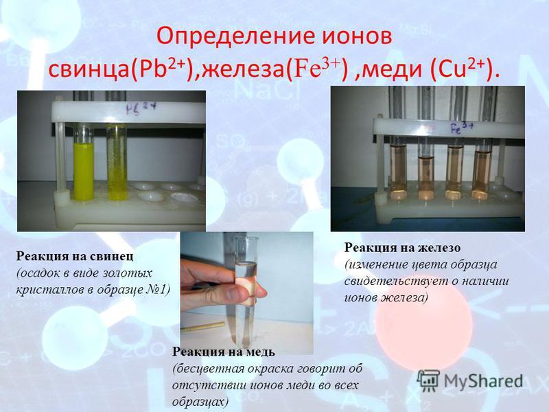 Определение ионов свинца(Рb 2+ ),железа( Fe 3+ ),меди (Сu 2+ ). Реакция на свинец (осадок в виде золотых кристаллов в образце 1) Реакция на железо (изменение цвета образца свидетельствует о наличии ионов железа) Реакция на медь (бесцветная окраска го