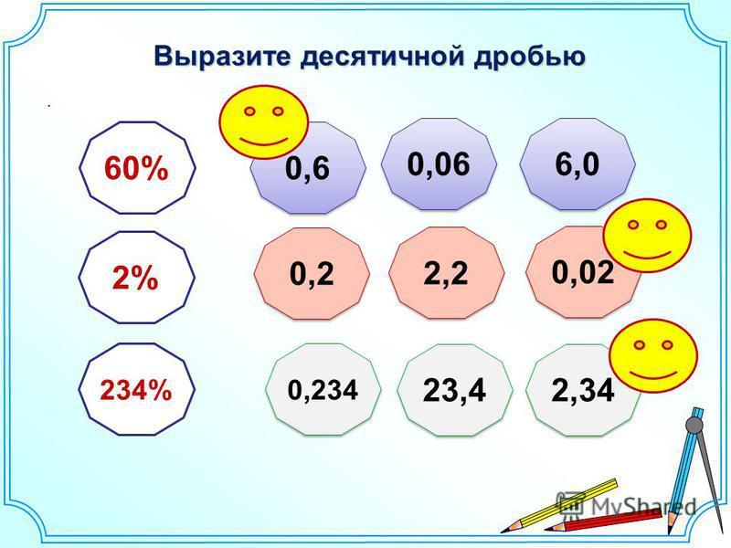 Выразите десятичной дробью. 60% 2% 234% 0,6 0,06 6,0 2,2 0,2 0,02 0,234 23,4 2,34