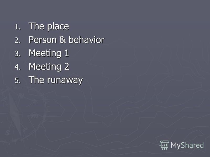 1. The place 2. Person & behavior 3. Meeting 1 4. Meeting 2 5. The runaway