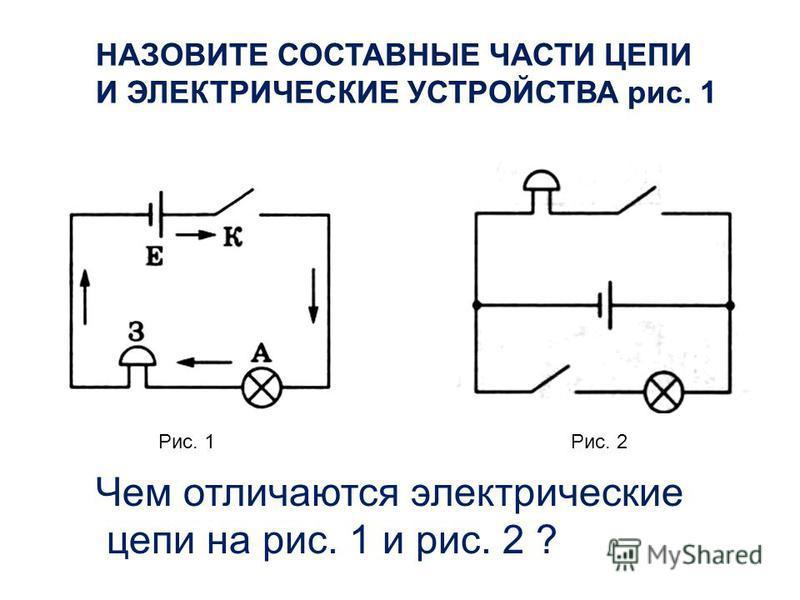 Рис. 1Рис. 2 Чем отличаются электрические цепи на рис. 1 и рис. 2 ?
