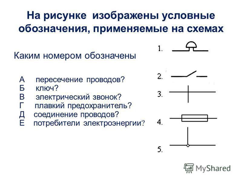 Каким номером обозначены А пересечение проводов? Б ключ? В электрический звонок? Г плавкий предохранитель? Д соединение проводов? Е потребители электроэнергии ? На рисунке изображены условные обозначения, применяемые на схемах