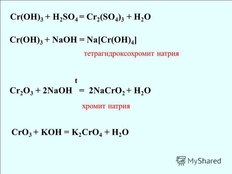 Cr(OH) 3 + H 2 SO 4 = Cr 2 (SO 4 ) 3 + H 2 O Cr(OH) 3 + NaOH = Na[Cr(OH) 4 ] тетрагидроксохромит натрия Cr 2 O 3 + 2NaOH = 2NaCrO 2 + H 2 O хромит натрия t CrO 3 + KOH = K 2 CrO 4 + H 2 O
