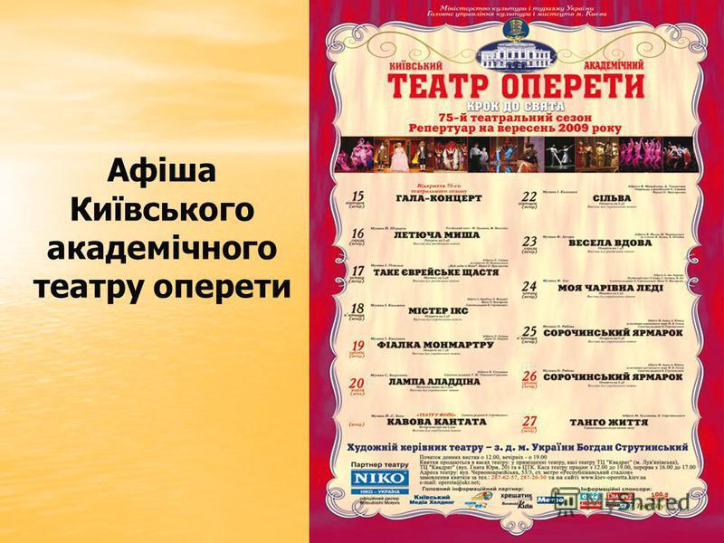 Афіша Київського академічного театру оперети