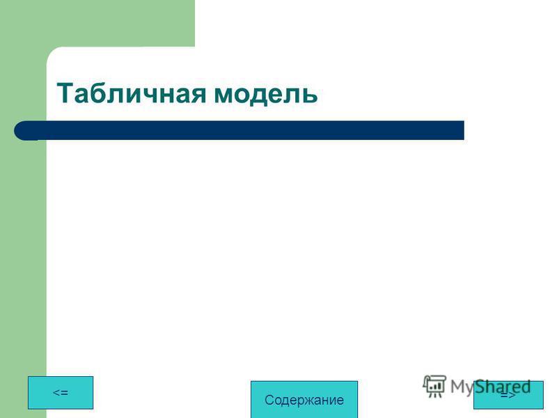 Табличная модель <= => Содержание
