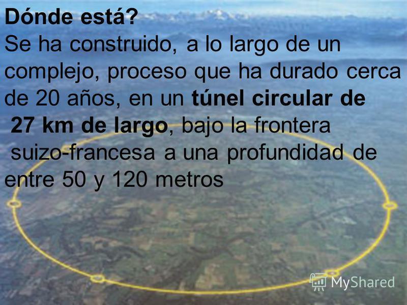Dónde está? Se ha construido, a lo largo de un complejo, proceso que ha durado cerca de 20 años, en un túnel circular de 27 km de largo, bajo la frontera suizo-francesa a una profundidad de entre 50 y 120 metros