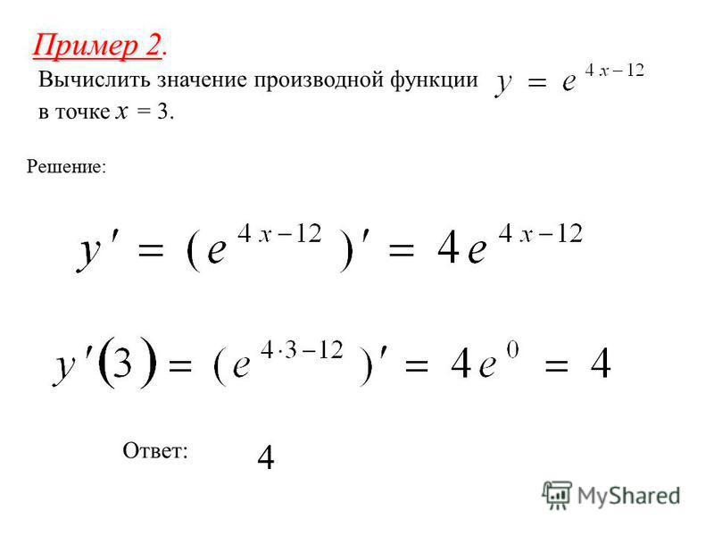 Пример 2 Пример 2. Вычислить значение производной функции в точке x = 3. Решение: Ответ: 4