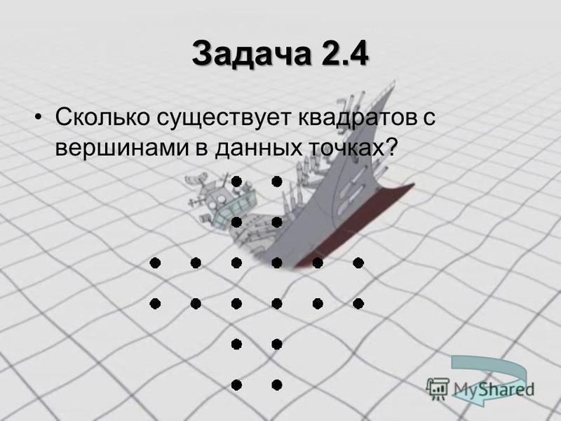 Задача 2.4 Сколько существует квадратов с вершинами в данных точках?