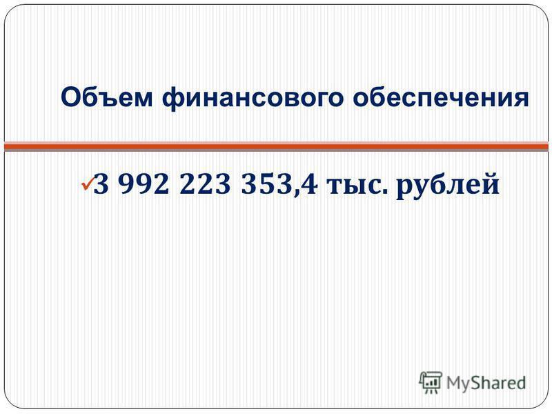 3 992 223 353,4 тыс. рублей Объем финансового обеспечения